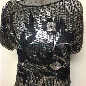 Vintage Black & Silver Sequin & Bead Silk Blouse