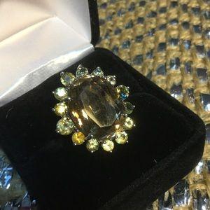 Genuine Smokey Quartz & Peridot Ring