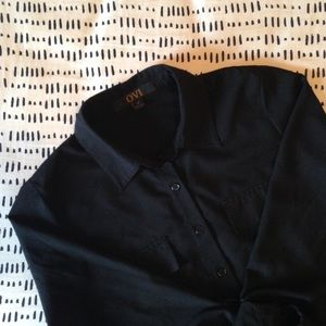 Ovi Tops - Black Chiffon Button Down Blouse