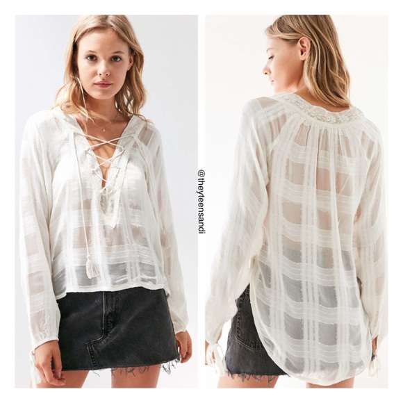 Urban Outfitters Ecote Neverland Lace-up Blouse 863fd1414