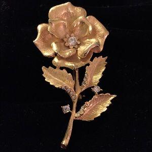 Rose and Rhinestone Brooch