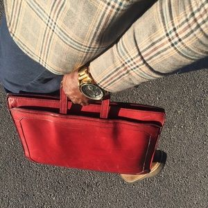 Classic 80s saddle leather men's briefcase 17""