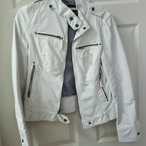 Black Rivet Jackets & Blazers - White leather jacket