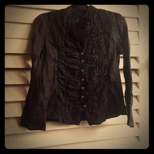 Black Long Sleeve Ruffled Top