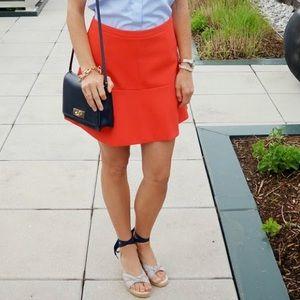 J.Crew Fluted Skirt Neon Orange