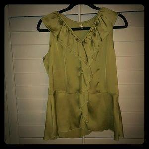 Silk Green Ruffled Top