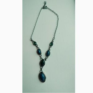 Blue and green oval shaped necklace
