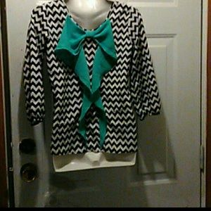 Black& white Turquoise silky blouse bow detail