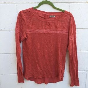 LUCKY BRAND Red Tee with Lace Detail
