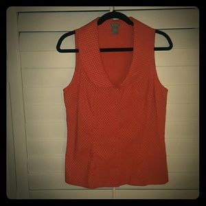 Ann Taylor Coral with White Dots Button Down Top