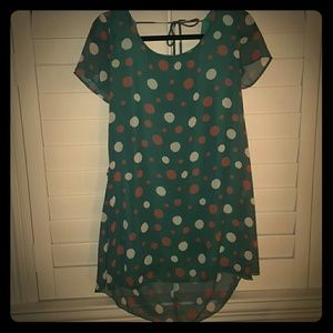 Silk Green Top with White and Orange Polka Dots
