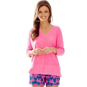 Lilly Pulitzer pink Jameson Dolman sleeve sweater