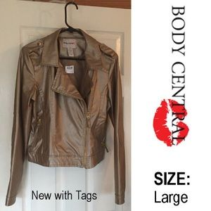 Body Central Jackets & Blazers - NWT Vegan Leather Gold Moto Bomber Jacket