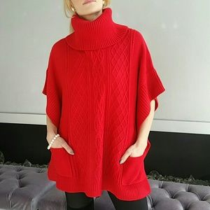 Sweaters - 🔥LAST 2🔥COZY Red knitted poncho