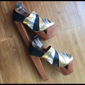 Jeffery Campbell Metallic Silver & Gold Heels 7.5
