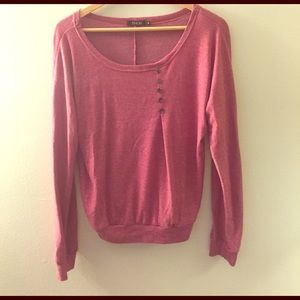 Finejo Tops - Light Sweater w/ Button Decoration