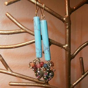 lmw0082 Jewelry - Turquoise drop jeweled heart earrings