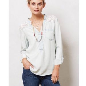 Anthropologie Laced Chambray Popover