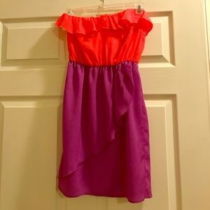 Peppermint pink and purple cocktail dress