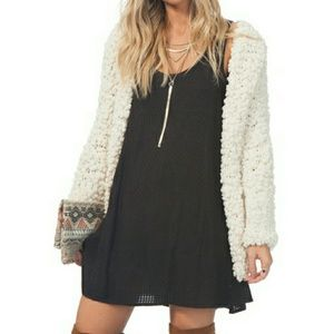 Free People Sweaters - Fluffy / Furry Cream Knit Sweater / Cardigan
