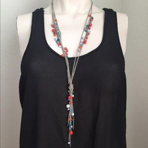 Jewelry - Coral and blue knotted chain necklace