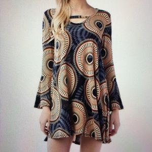 Dresses & Skirts - Boho chic dress Rust/charcoal tulip sleeves