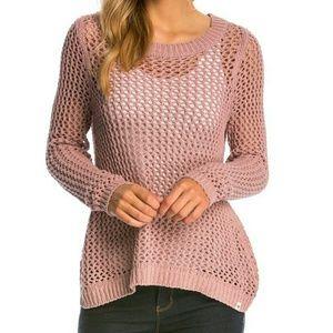 Free People Sweaters - Purple / Lilac Knit Open Back Sweater