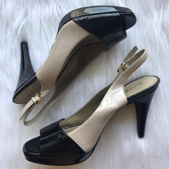2c6ce893691e Bandolino Shoes - Colorblock Slingback Patent Open Toe Pumps US 7