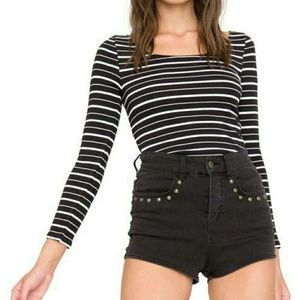 Amuse Society Tops - Amuse Society Miren stripe fitted top 3/4 sleeve