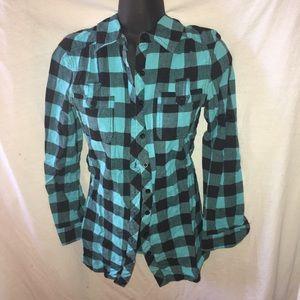fun & flirt Tops - LAST PRICE DROP Blue plaid flannel