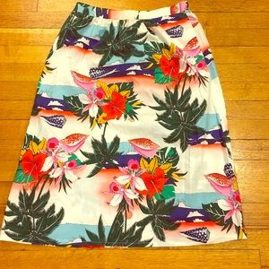 Vintage Hawaiian Print Skirt