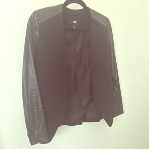 H&M leather sleeve black fitted jacket, size 2.
