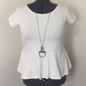 Inspire Tops - White peplum top by Inspire. Size 22.
