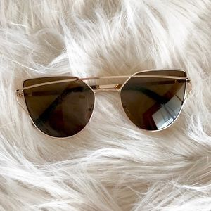 Accessories - NWT || Gold Cat Eye Aviator Wire Sunglasses