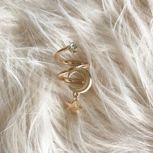 Jewelry - NWT || Gold Moon & Star Spiral Boho Statement Ring