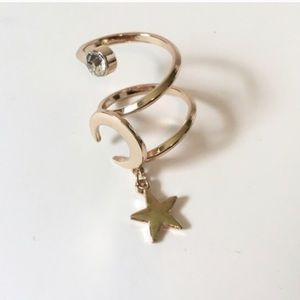 Jewelry - NWT    Gold Moon & Star Spiral Boho Statement Ring