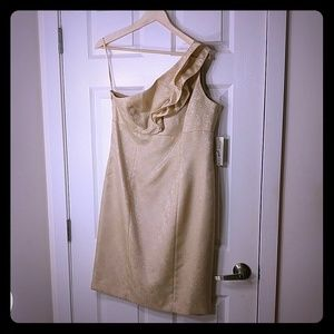 Evan Picone gold one shoulder dress Size 12