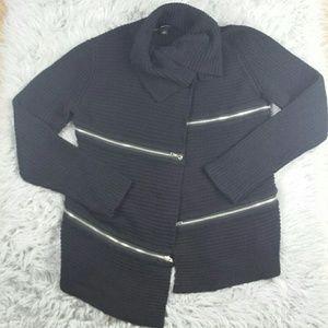 Rock & Republic Sweaters - Rock & Republic Black Zippered Cardigan
