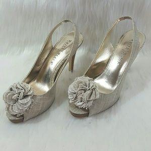 White House Black Market Shoes - WHBM Nude Flower Gold Peep Toe Slingback Heels