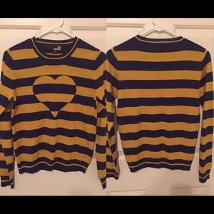 Love Moschino Sweaters - Love Moschino striped heart sweater