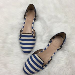 J. Crew Shoes - 🍀J. CREW Nautical Blue/White D'orsay Flats