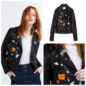 Zara Jackets & Blazers - Faux Leather Biker Jacket with Badges