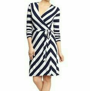 Old Navy Camel and Black Striped Wrap Dress