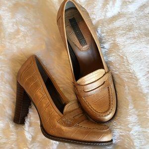 Banana Republic Shoes - 🆕 Banana Republic Tan Croc Embossed Loafer Pumps