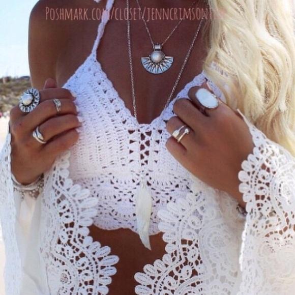 65 off boutique tops white boho crochet halter crop top for Boutique tops