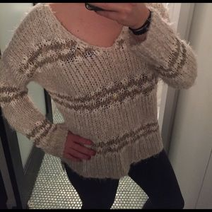 Free People Striped V Neck Sweater