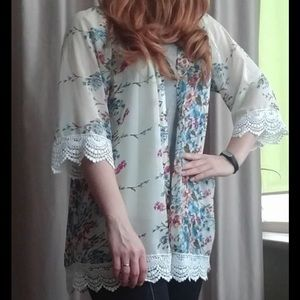 Other - Floral Chiffon Kimono Coverup