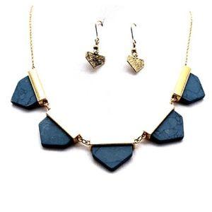 Marble geometric statement necklace set