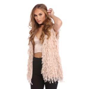 Other - Cream/Light Pink Shag Vest