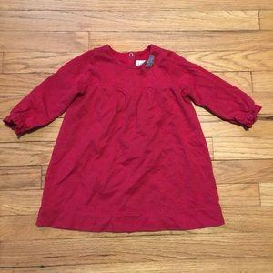 Petit Bateau girls red long sleeve dress - 18 Mo